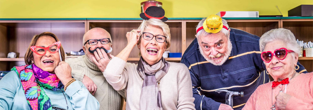 Image of Senior adults in a nursing home for the elderly having fun
